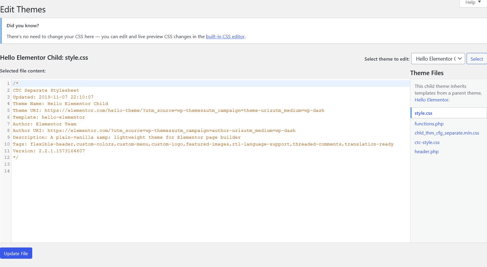 adding custom CSS to WordPress