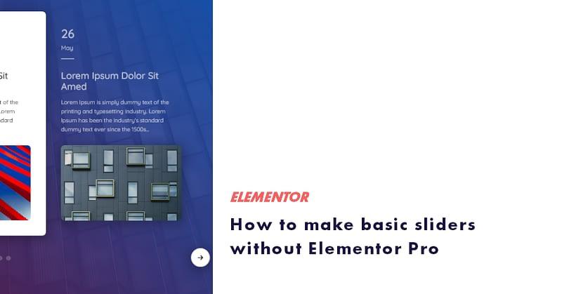 slider without elementor pro